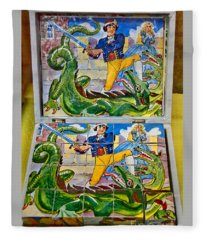 Antique Pirate And Dragon Block Puzzle Fleece Blanket