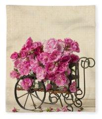 Antique Rose Cart Fleece Blanket