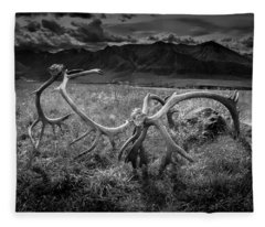 Antlers In Black And White Fleece Blanket