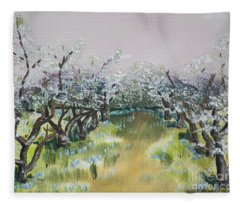 Apple Blossoms In Ellijay -apple Trees - Blooming Fleece Blanket