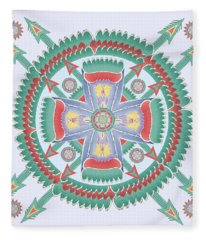 Aqua And Melon Totem Mandala Fleece Blanket