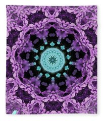 Aqua Center Fern Mandala Fleece Blanket