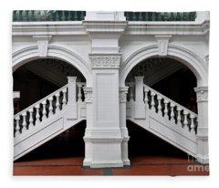Arch Staircase Balustrade And Columns Fleece Blanket