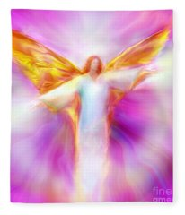 Archangel Sandalphon In Flight Fleece Blanket