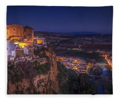 Arcos De La Frontera Panorama From Balcon De La Pena Cadiz Spain Fleece Blanket