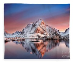 Arctic Dawn Over Reine Village Fleece Blanket