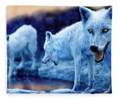 Arctic White Wolves Fleece Blanket