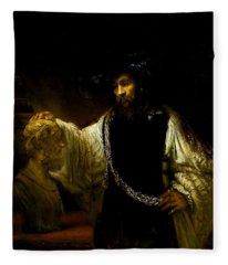 Aristotle Contemplating A Bust Of Homer Fleece Blanket