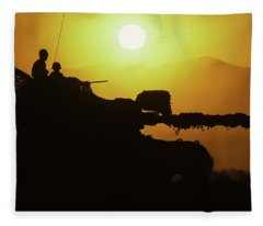 Army Tank With Camouflage In Training Fleece Blanket