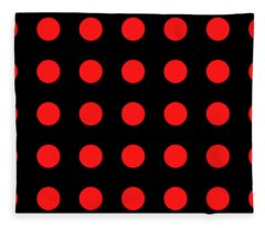 Array Of Red Circles On Black Fleece Blanket