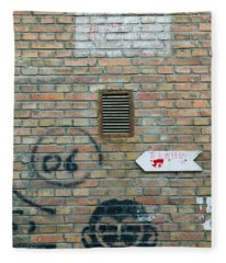 Art And Signs Painted On A Brick Wall Fleece Blanket