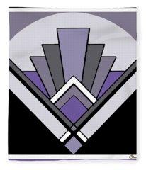 Art Deco Pattern Two - Purple Fleece Blanket