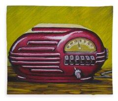 Art Deco Radio Fleece Blanket
