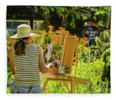 Art In The Garden Fleece Blanket