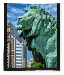 Art Institute In Chicago Lion Poster Fleece Blanket