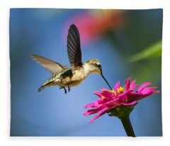 Art Of Hummingbird Flight Fleece Blanket