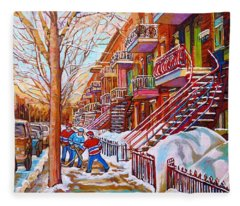 Art Of Montreal Staircases In Winter Street Hockey Game City Streetscenes By Carole Spandau Fleece Blanket
