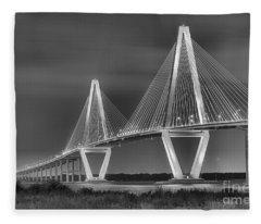 Arthur Ravenel Jr. Bridge In Black And White Fleece Blanket