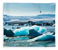 Artic Tern Over Jokulsarlon Glacier Lagoon Fleece Blanket