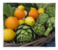 Artichokes Lemons And Oranges Fleece Blanket
