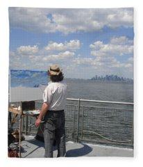 Artist At Work Manhattan  Fleece Blanket