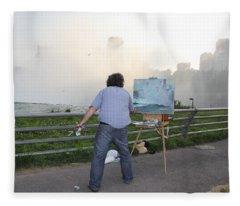 Artist At Work Niagara Falls Ny Fleece Blanket