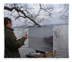 Artist At Work Nyack Park Ny Fleece Blanket
