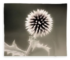 Artistic Black And White Flower Fleece Blanket