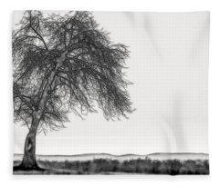 Artistic Black And White Sunset Tree Fleece Blanket