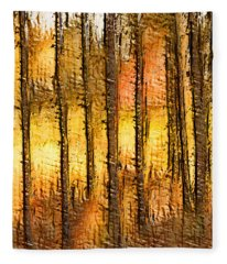 Artistic Fall Forest Abstract Fleece Blanket