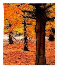 Artistic Fall Trees Fleece Blanket