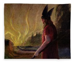 As The Flames Rise Odin Leaves Fleece Blanket