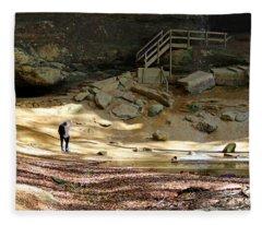 Ash Cave In Hocking Hills Fleece Blanket
