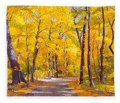 Ash Trees At Fall In The Morton Arboretum Fleece Blanket