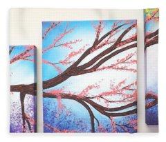 Asian Bloom Triptych Fleece Blanket