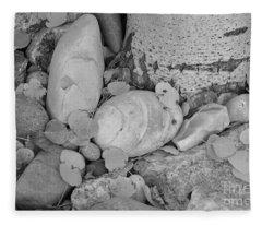 Aspen Leaves On The Rocks - Black And White Fleece Blanket