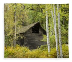 Aspens And Barn Fleece Blanket