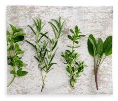 Assorted Fresh Herbs Fleece Blanket
