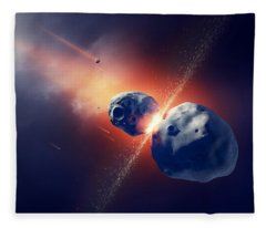 Asteroids Collide And Explode  In Space Fleece Blanket