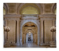 Astor Hall At The New York Public Library Fleece Blanket