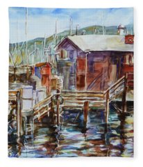 At Monterey Wharf Ca Fleece Blanket