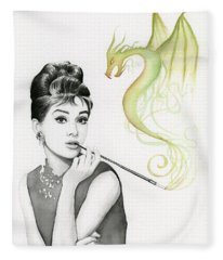 Audrey And Her Magic Dragon Fleece Blanket