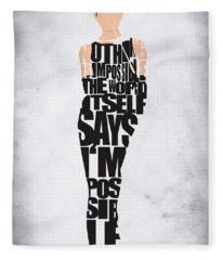 Audrey Hepburn Typography Poster Fleece Blanket