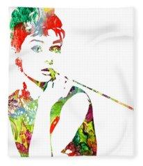 Audrey Hepburn - Watercolor Fleece Blanket