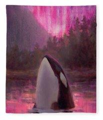 Orca Whale And Aurora Borealis - Killer Whale - Northern Lights - Seascape - Coastal Art Fleece Blanket