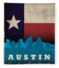 Austin City Skyline State Flag Of Texas Art Poster Series 010 Fleece Blanket