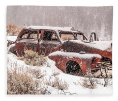 Auto In Snowstorm Fleece Blanket