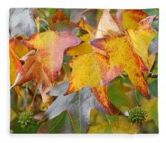 Autumn Acer Leaves Fleece Blanket