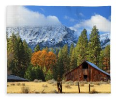 Autumn Barn At Thompson Peak Fleece Blanket