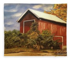 Autumn - Barn - Ohio Fleece Blanket